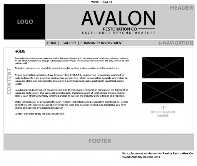 Avalon Restoration Co. Basic Content Placement Wireframe